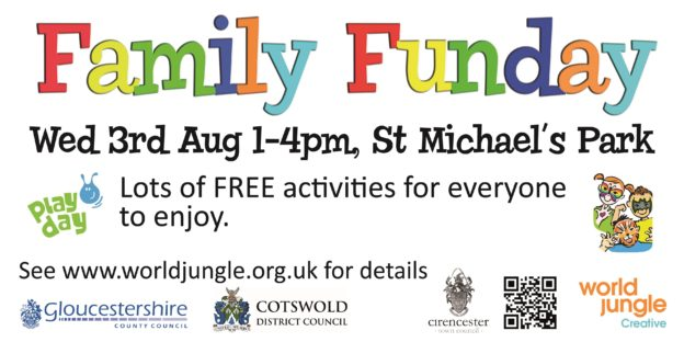 Join us for a fantastically fun afternoon of play from 1pm - 4pm on St Michael's Park in Cirencester. Our FREE family funday will have lots of activities for the whole family to enjoy! Take part in art & craft activities , drumming, facepainting, henna hand art, sports and games, circus fun, bouncy castle and more!